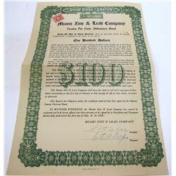 Miami Zinc & Lead Company Bond, 1918, Oklahoma