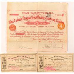 Oregon Mining Stock Certificates and Bond