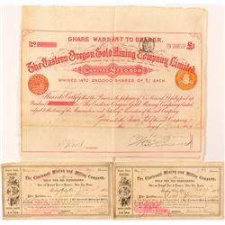 Oregon Mining Stock Certificates and Bond