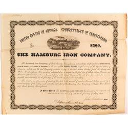 Hamburg Iron Company Loan Document, 1872, Pennsylvania