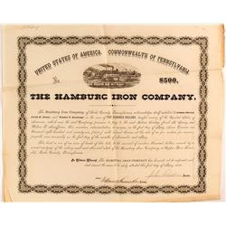 Hamburg Iron Company Loan Document, 1872, Pennsylvania