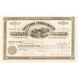 Cheyenne Consolidated Mining Co. Stock Certificate, Dakota Territory