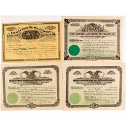 Three Deadwood, South Dakota Mining Stock Certificates plus One Montana