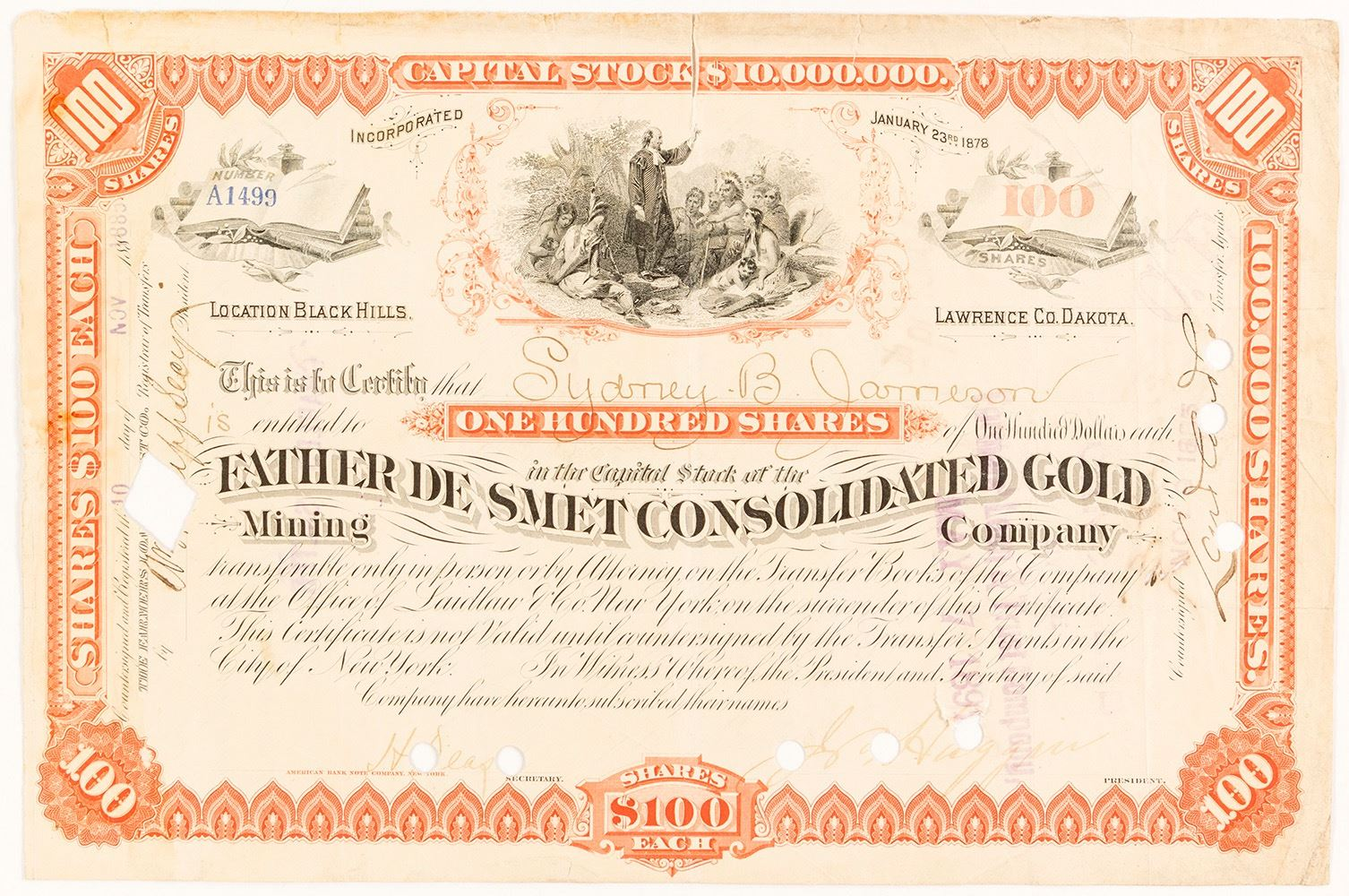 Father De Smet Consolidated Gold Mining Co  Stock Certificate, Dakota  Territory, 1885