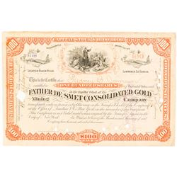 Father De Smet Consolidated Gold Mining Co. Stock Certificate, Dakota Territory, 1885