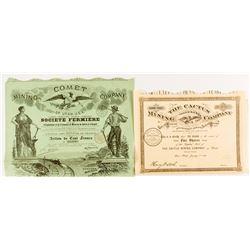Two French Utah Mining Certificates