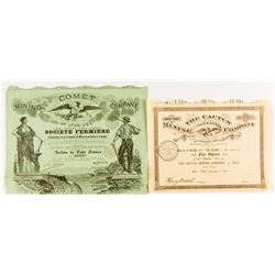 Two French Utah Mining Certificates
