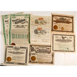Eight US Mining Stock Certificates & Bonds