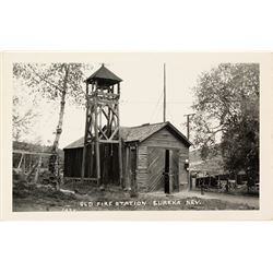 Old Fire Station, Eureka, Nevada Real Photo Postcard