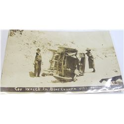 Car Wreck in Blue Canyon, Socorro, New Mexico Real Photo Postcard