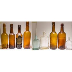 Amber c1900 Embossed Whiskey Collection