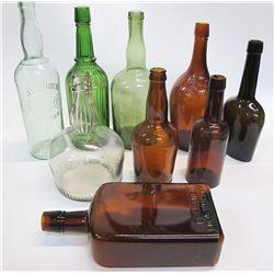 Group of 9 Whiskey Bottles, c1890-1910