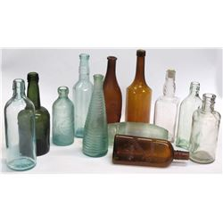 Assortment of 12 Food, Soda and Ink Bottles