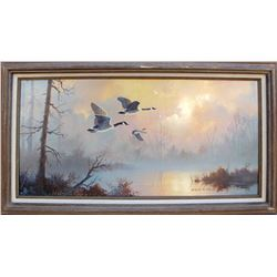 Canada Geese in Flight Oil Painting