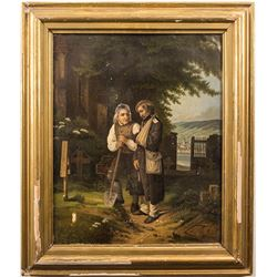 Soldier with Grave Digger Painting