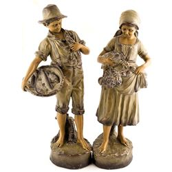 Young Boy and Girl Plaster Sculptures