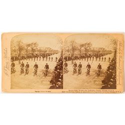1893 Columbian Exposition Stereoview of Bike Parade