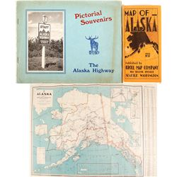 Alaska Fold Out Map and Pictorial Souvenirs