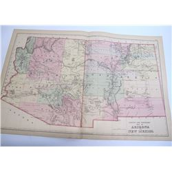 1884 County and Township Map of Arizona and New Mexico