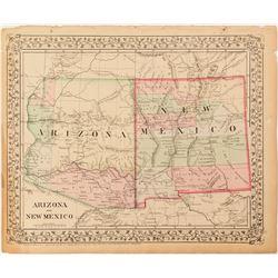 2 Maps Arizona & New Mexico