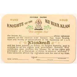 Unused Knights of the Klu KLux Klan ID Card