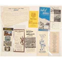 Mono County, California Ephemera (Licenses & Brochures)