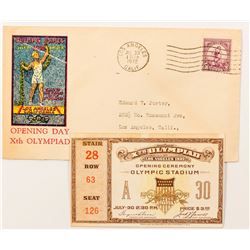 Los Angeles 1932 Olympic Ticket Stub and Cover