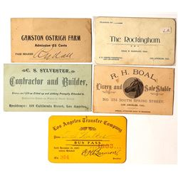 Los Angeles Area Business Cards, c.1900