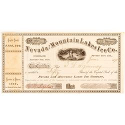 Nevada and Mountain Lakes Ice Co. Stock Certificate, 1871