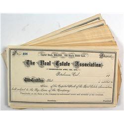 Real Estate Association Stock Certificates (100) (Petaluma, CA)