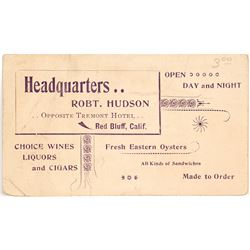 Business Card for Headquarters Saloon in Red Bluff