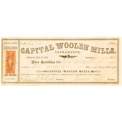 Capital Woolen Mills Stock Certificate, 1869, Sacramento