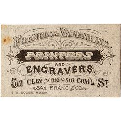 Business Card for Francis & Valentine, Printers & Engravers, San Francisco