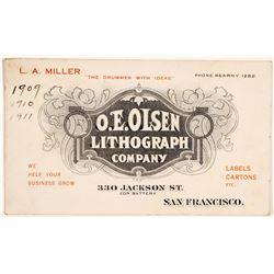 O.E. Olsen Lithograph Co. Business Card, San Francisco