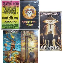 Two Grateful Dead Posters; Three Burning Man