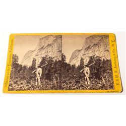 Yosemite Stereoview of Man Holding Large Rifle