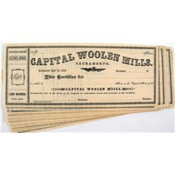 Capital Woolen Mills Stock Certificates (50) (Sacramento)