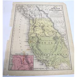 Mitchell Early Map of Upper California and Oregon, c.1846