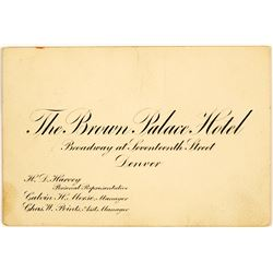 Business Card for the Famous Brown Palace Hotel, Denver