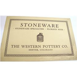 Illustrated Western Pottery Co. Catalog, Denver, Colorado