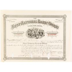 First National Bank of Ouray Stock Certificate, 1890, Mining Vignette