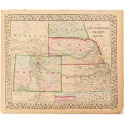 c.1870s Map of Colorado, Dacotah, Nebraska, Kansas