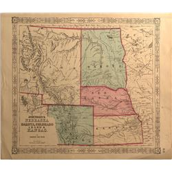 Early Map of Idaho & Contiguous States, c.1860s