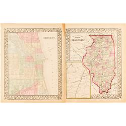Two Maps of Illinois and Chicago, c.1860s