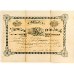 Iowa Mineral and Ochre Paint Co. Stock Certificate, 1890