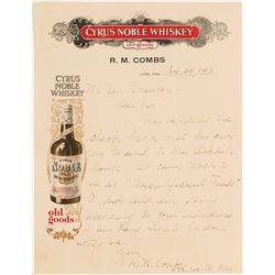 Pictorial Cyrus Noble Whiskey Letter, Lodi, California, 1912