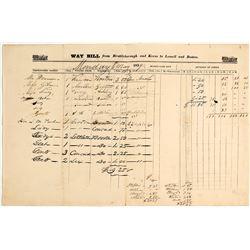 1839 Stage Company Way Bill
