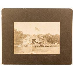 Massachusetts Boathouse Mounted Photograph, c.1890s