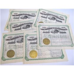 Six Lake Superior Iron and Chemical Co. Stock Certificates, 1907-1909