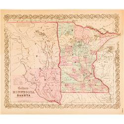 c.1850s Map of Minnesota and Dakota
